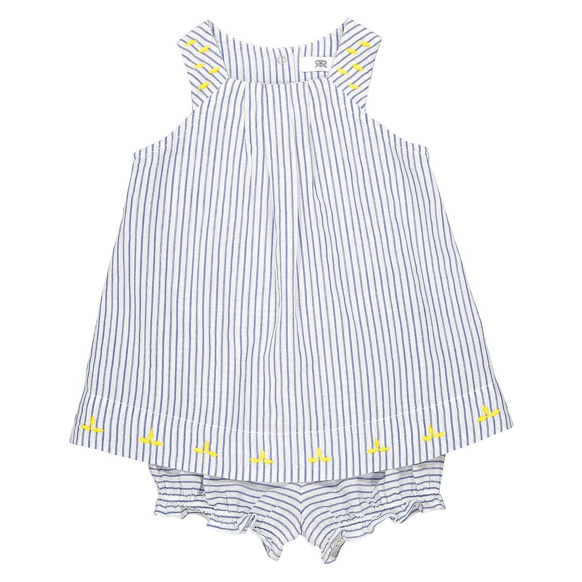 Conjunto vestido e calções, às riscas, 0 mês - 3 anos