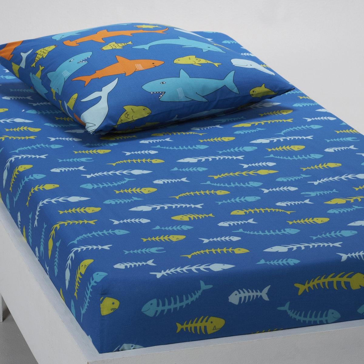 Натяжная простыняОписание:Рисунок рыбки..Характеристики:100% хлопка, 52 нити/см?. Стирка при 60°.<br><br>Цвет: синий