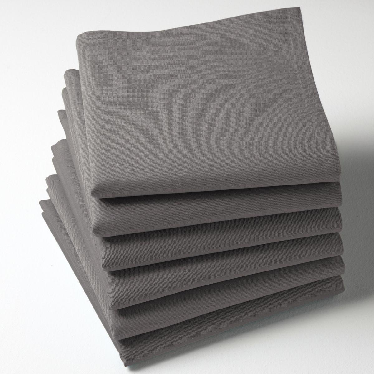 6 салфетокКачество Valeur S?re. Однотонные салфетки из саржи, 100% хлопка. 45 х 45 см. Мягкий и прочный материал. Легко гладить. Стирка при 40°.<br><br>Цвет: желтый,розовая пудра,светло-серый,серый,сине-зеленый