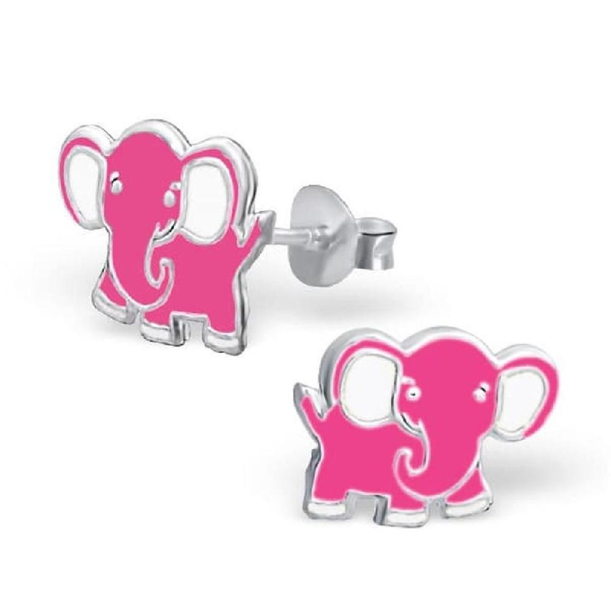 Boucles d'oreilles Eléphant Rose Argent 925