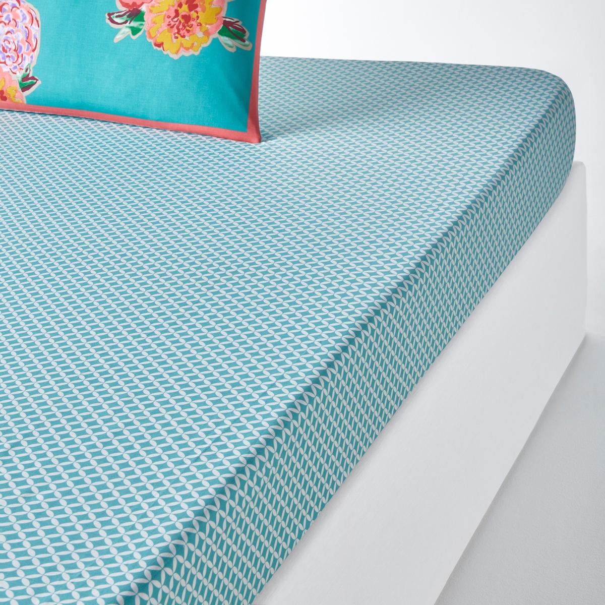 Простыня натяжная с рисунком LHATSEНатяжная простыня LHATSE : качественное хлопковое постельное белье с мелким узором и крупным цветочным рисунком вдохнет свежести в Ваш интерьер.Характеристики натяжной простыни с рисунком LHATSE :Мелкий узор бирюзового цвета100% хлопок, 57 нитей/см? : чем больше нитей/см?, тем выше качество материала.Клапан шириной 25 см Весь комплект постельного белья LHATSE Вы найдете на laredoute.ru Легкость ухода :Машинная стирка при 60 °СЛегкая глажкаЗнак Oeko-Tex® гарантирует отсутствие вредных для здоровья веществ в протестированных и сертифицированных изделиях.Размеры :90 x 190 см : 1-сп.140 x 190 см : 2-сп.160 x 200 см : 2-сп.180 x 200 см : 2-сп.<br><br>Цвет: рисунок сине-бирюзовый