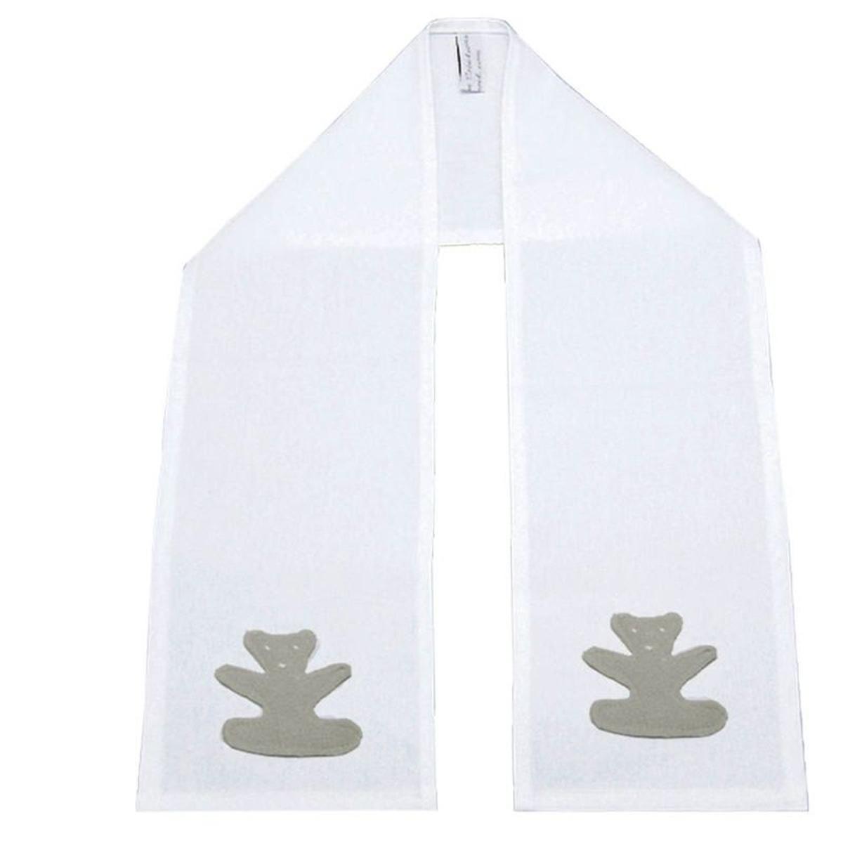Etole de baptême blanche Ourson en gris