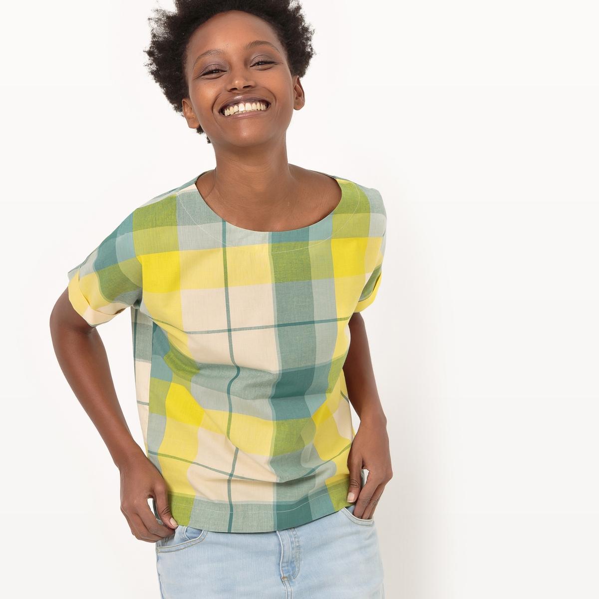 Блузка в клетку с короткими рукавами