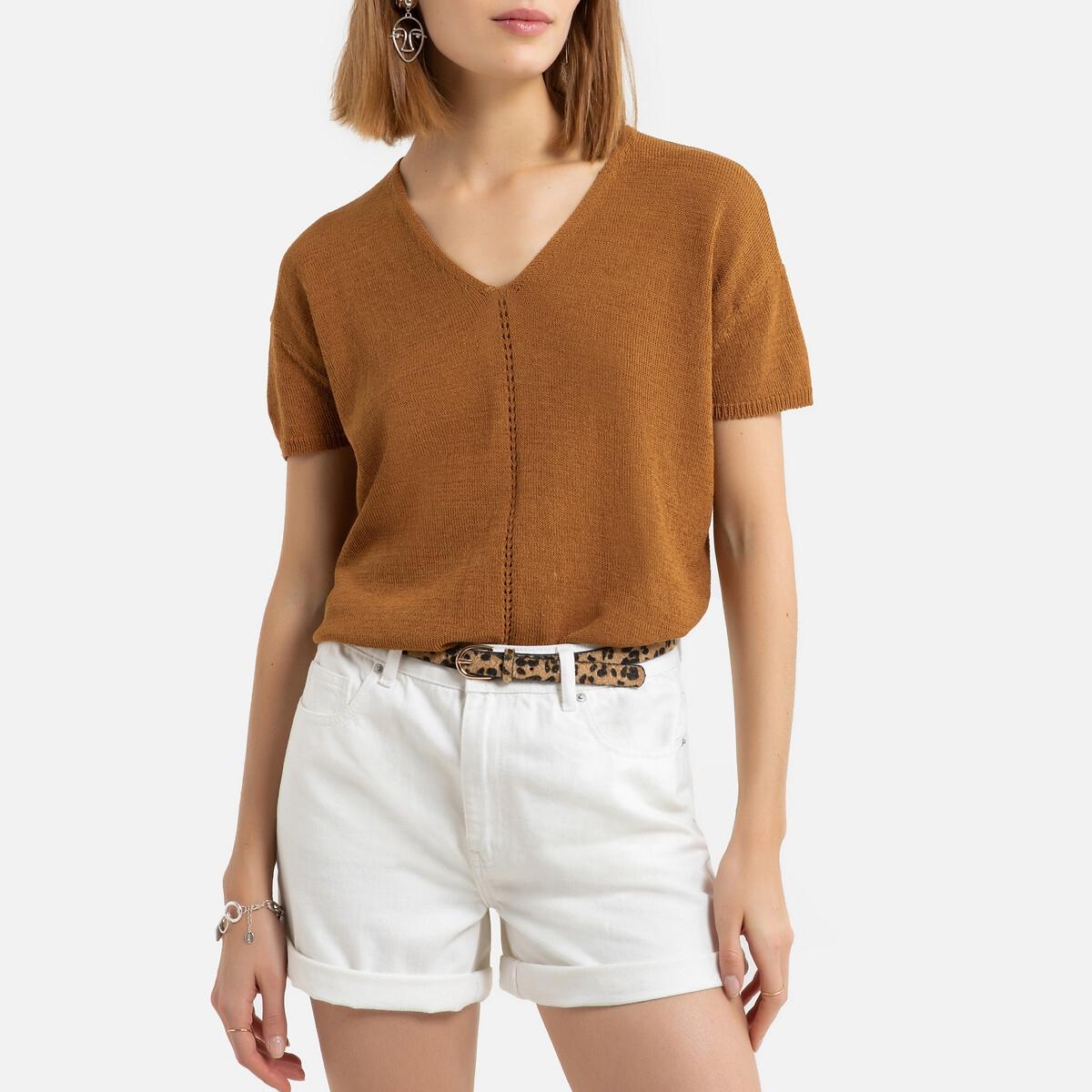 Пуловер La Redoute С V-образным вырезом из тонкого трикотажа L каштановый пуловер la redoute с v образным вырезом из тонкого витого трикотажа m каштановый