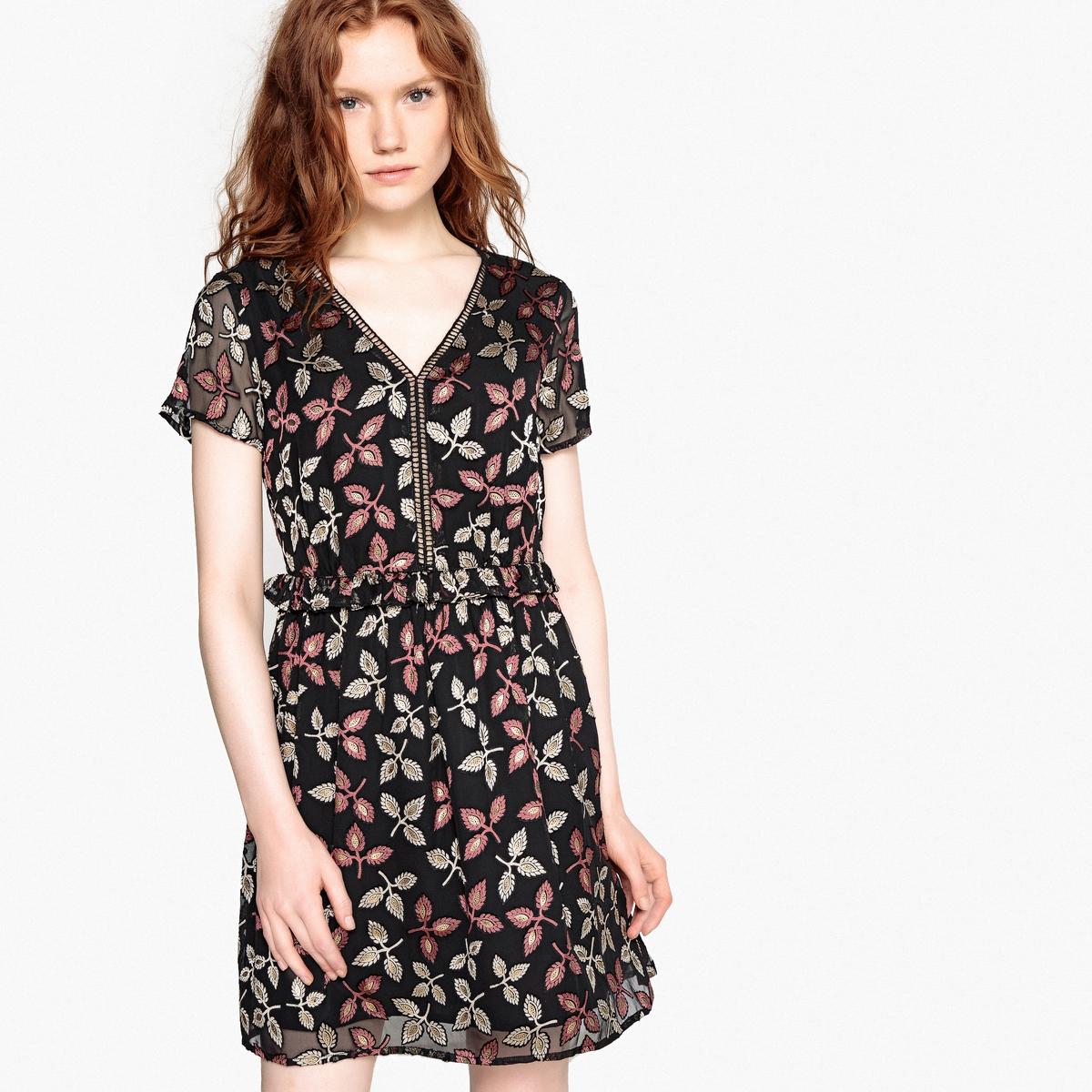 Платье короткое расклешенное с цветочным рисунком