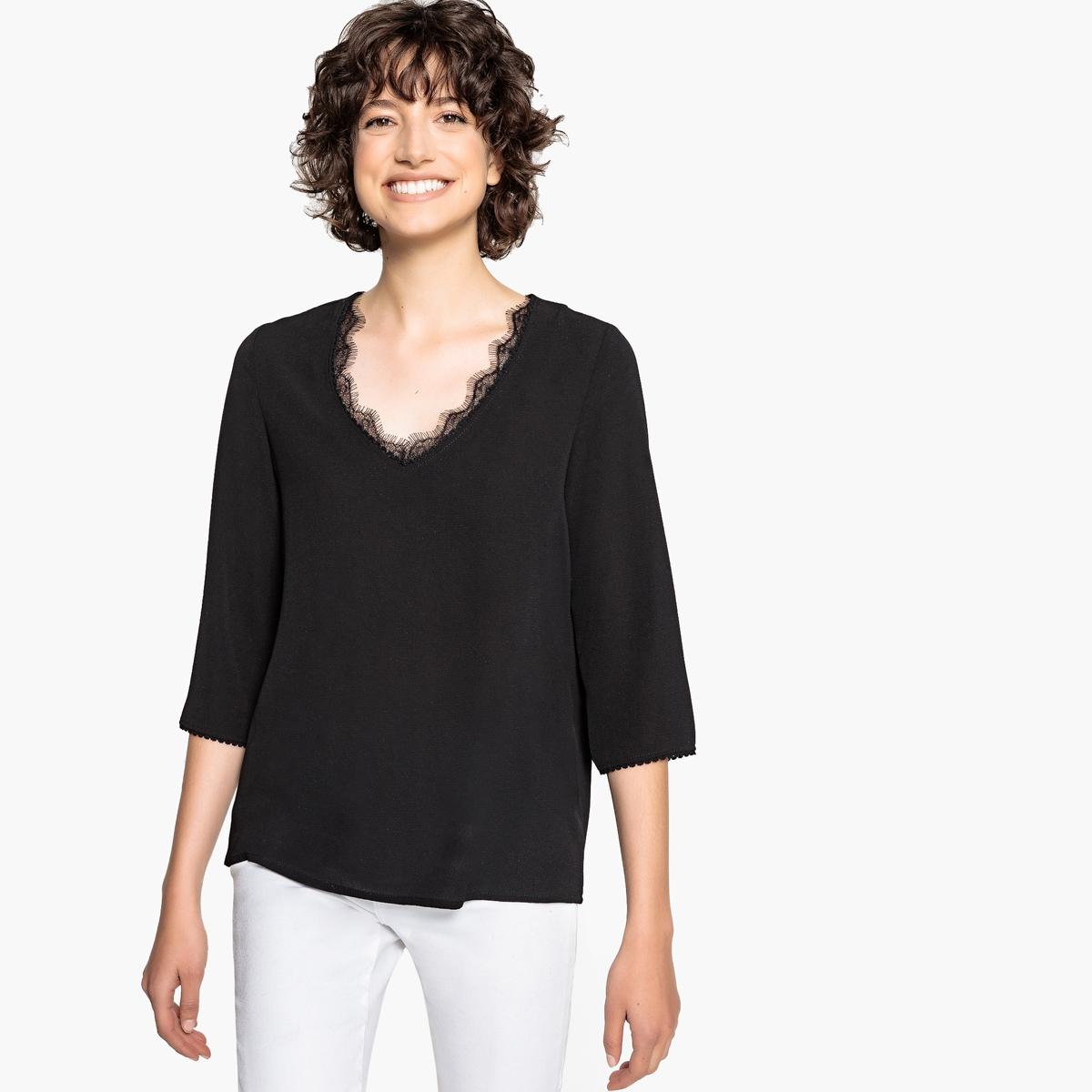 Блузка с V-образным вырезом из кружева и рукавами 3/4 блузка с квадратным вырезом со вставкой из кружева