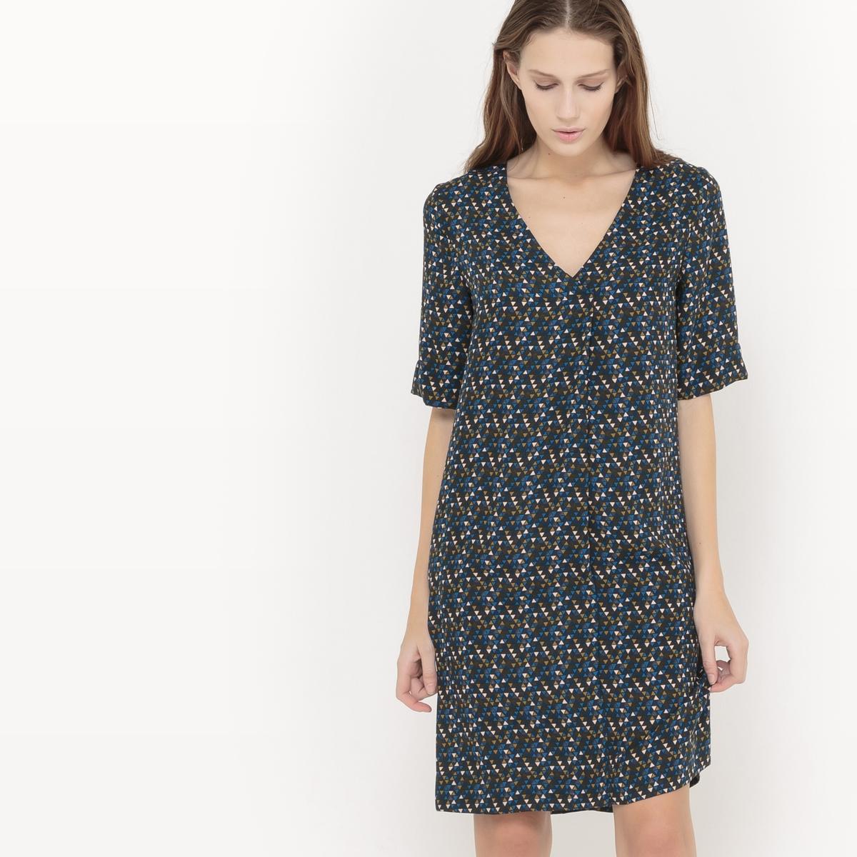 Платье струящееся  с рисунком платье струящееся с рисунком