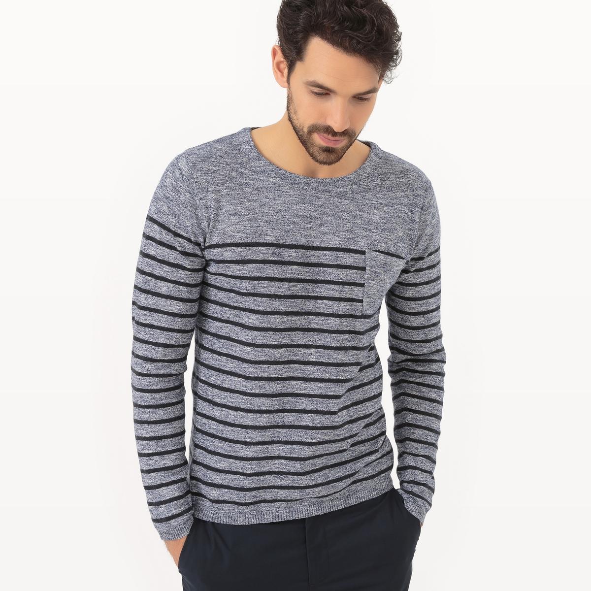 R essentiel Пуловер в полоску с круглым вырезом