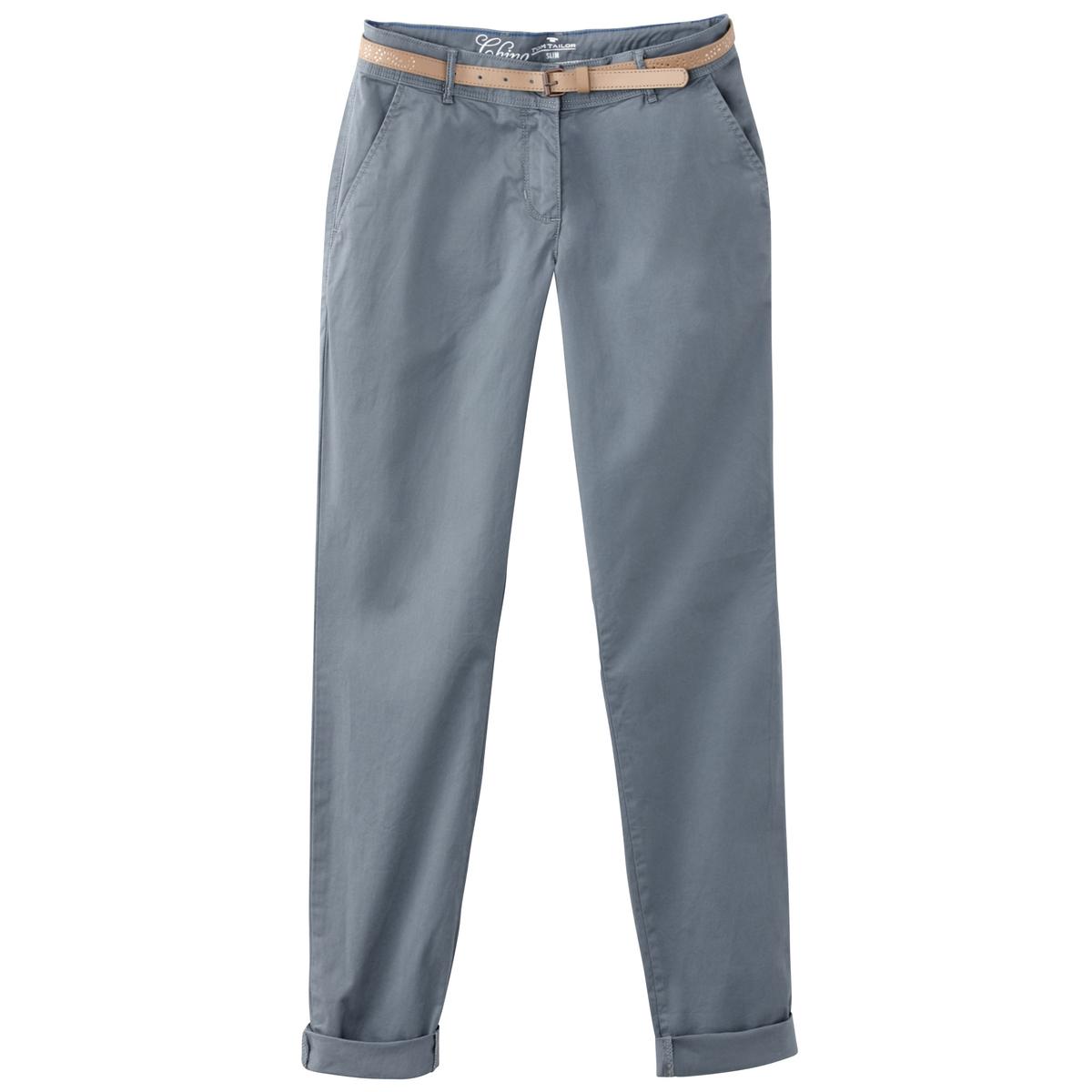 Брюки-чино с поясом из веревкиМатериал : 97% хлопка, 3% эластана Рисунок : однотонная модель  Высота пояса : стандартная Покрой брюк : брюки-чино<br><br>Цвет: темно-синий