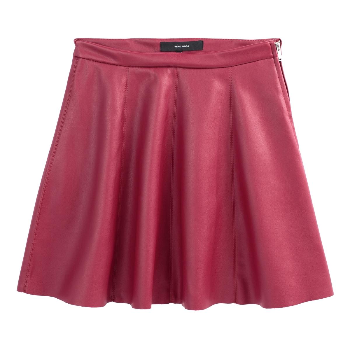 Юбка-трапеция La Redoute Короткая из искусственной кожи XS красный юбка la redoute короткая с завышенной талией и цветочным рисунком xs зеленый