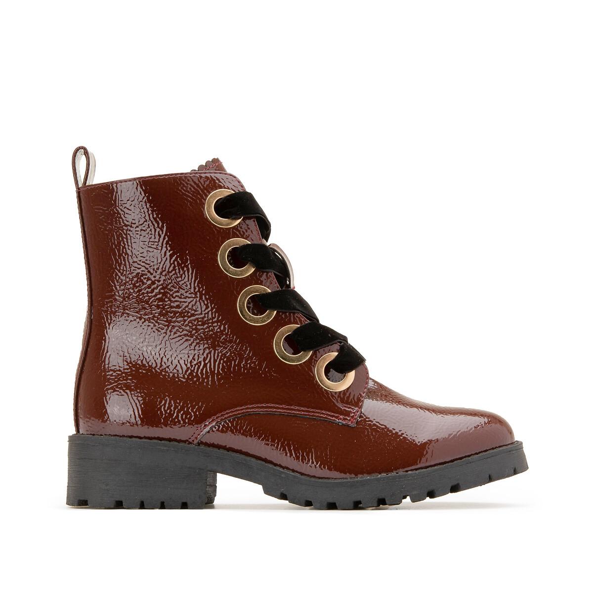 Ботинки LaRedoute Лакированные на шнуровке золотистые люверсы 36 красный