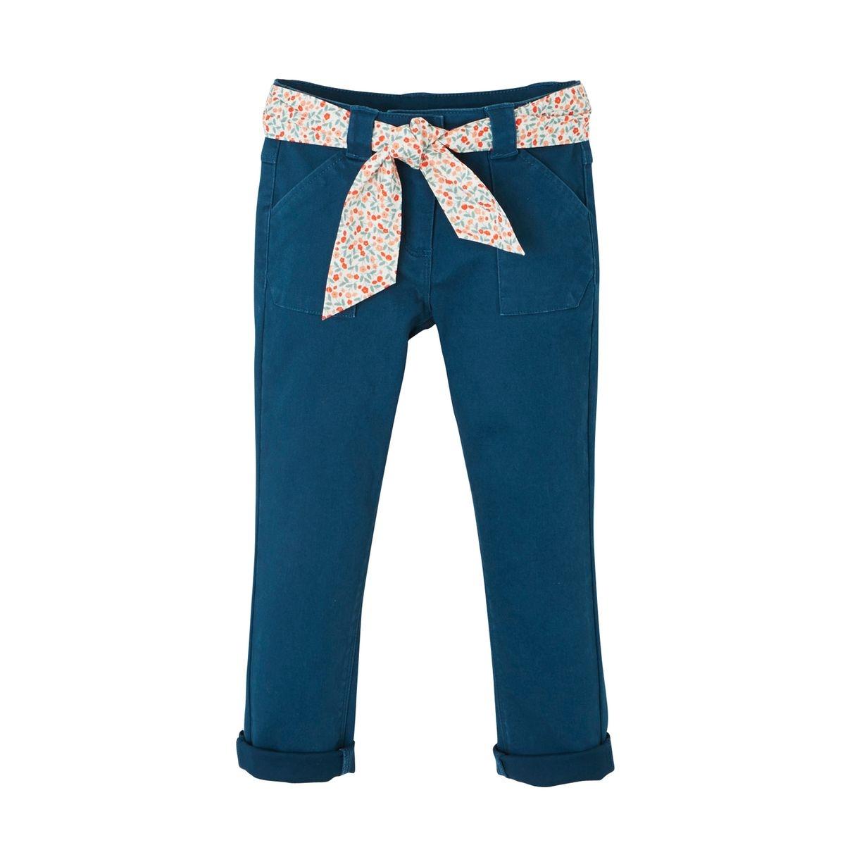 Pantalon fille ceinture foulard imprimé