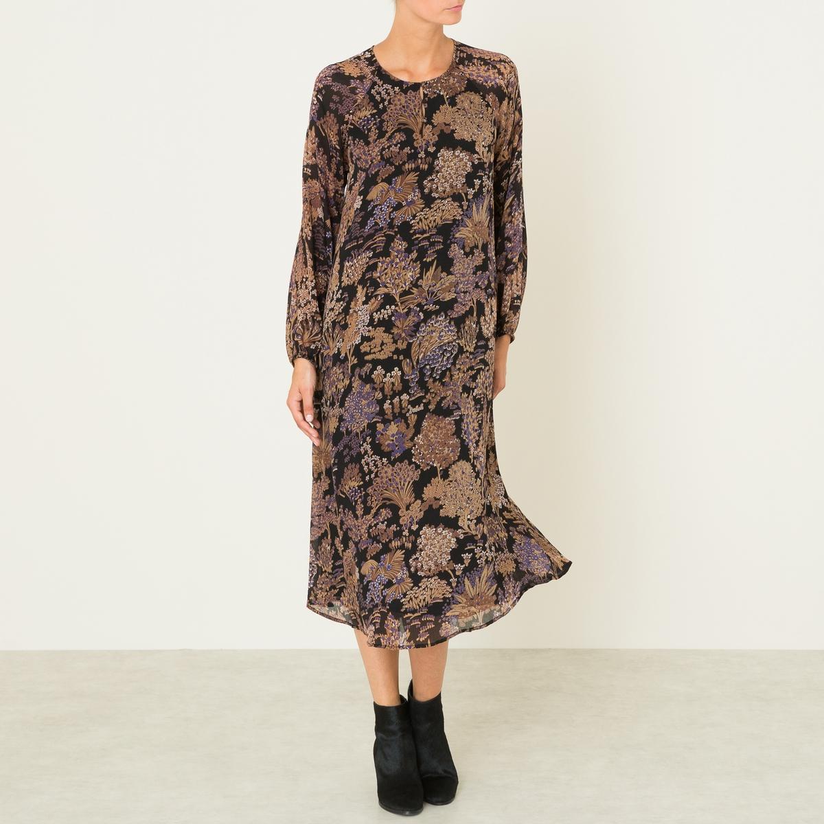 Платье длинное TORRE DRESSПлатье MES DEMOISELLES, модель TORRE DRESS. Длинный прямой покрой. V-образный вырез с пуговицами. Длинные свободные рукава, манжеты на резинке. Подкладка. Сплошной цветочный рисунок. Струящийся покрой.Состав и описание Материал : 100% шелк Длина : 122 см. (для размера 36) Марка : MES DEMOISELLES<br><br>Цвет: черный<br>Размер: 36 (FR) - 42 (RUS)