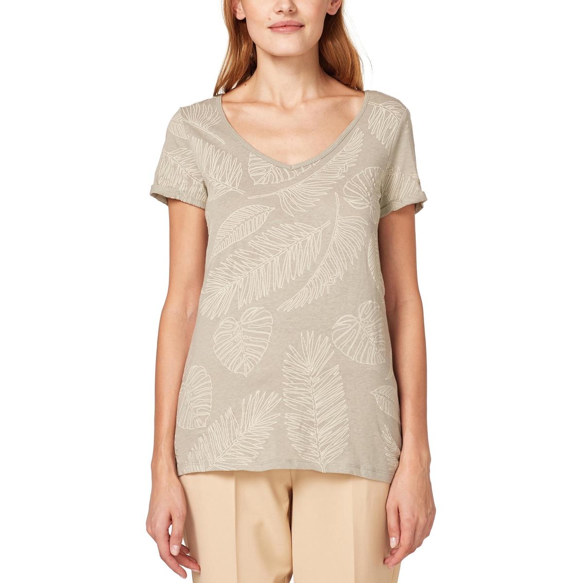 Camiseta estampada de manga corta y cuello de pico