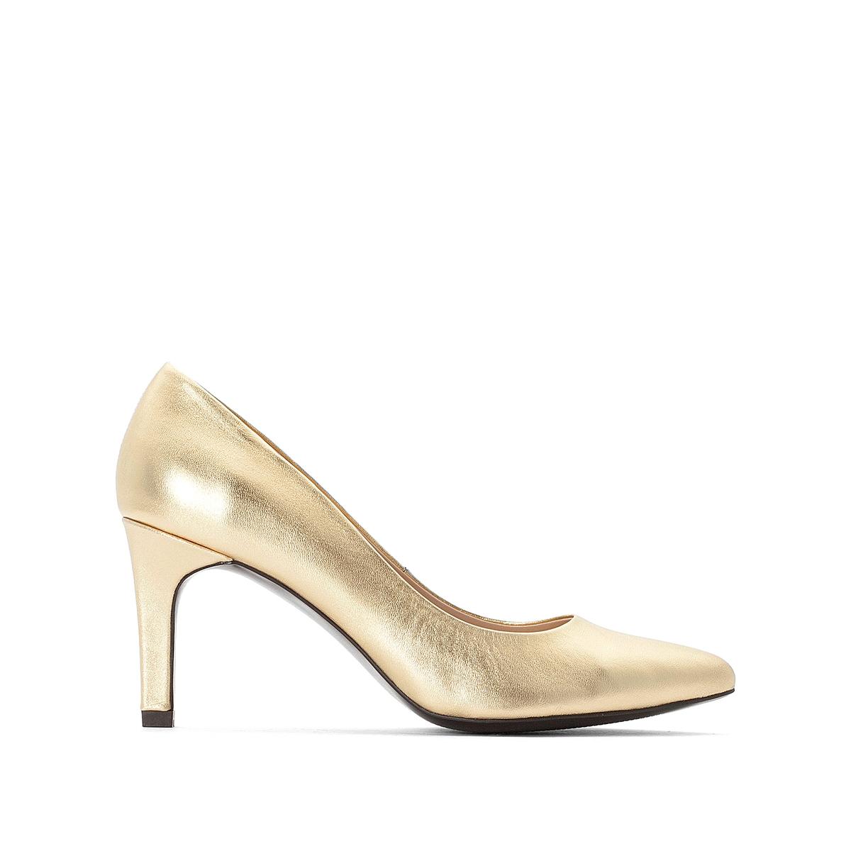 Туфли La Redoute Кожаные на высоком каблуке 36 золотистый ботильоны челси la redoute кожаные на высоком каблуке 36 черный