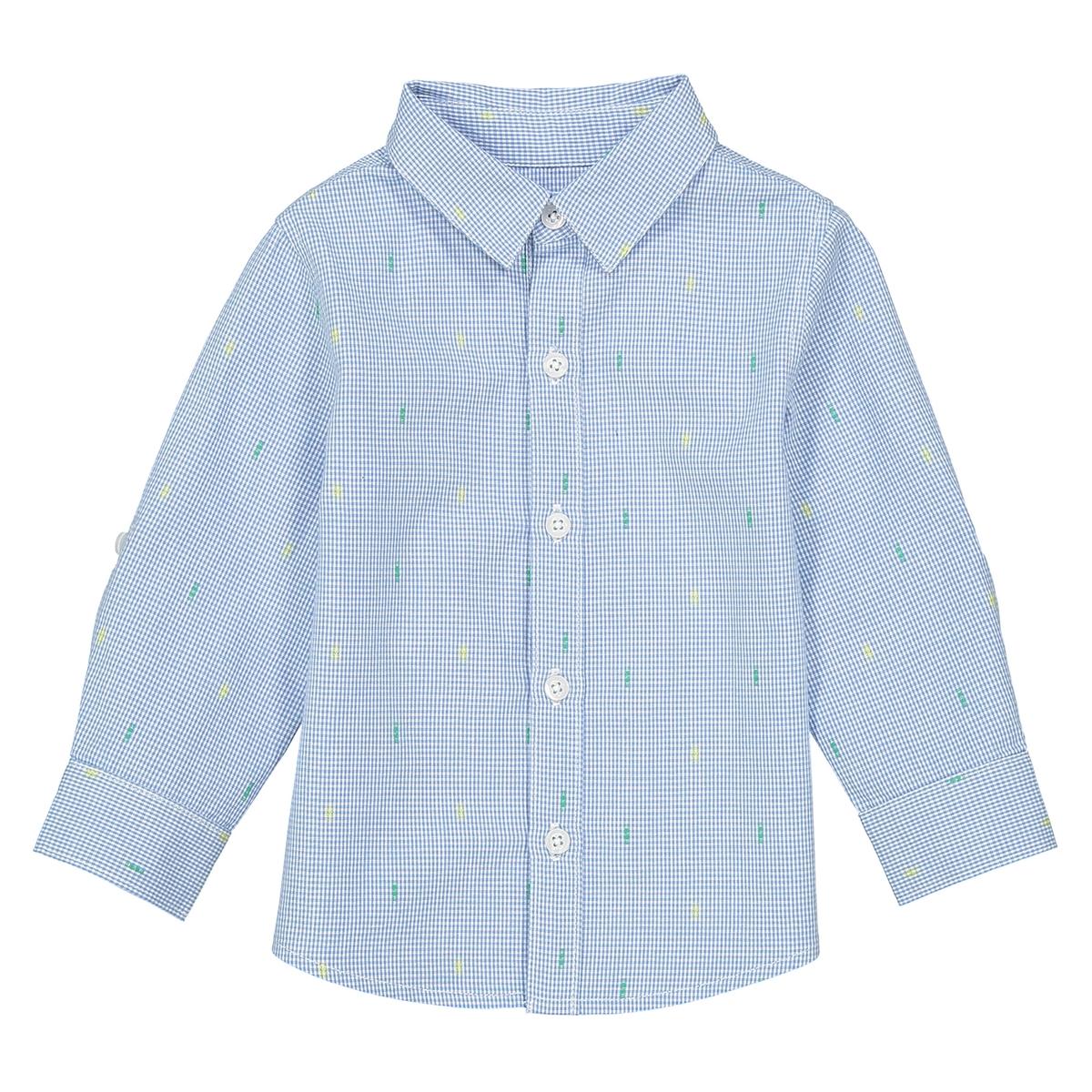 Рубашка с рисунком и длинными рукавами - 1 мес. - 3 года