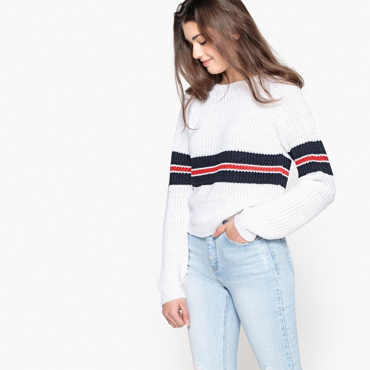Пуловер La Redoute В полоску 14 лет - 156 см белый