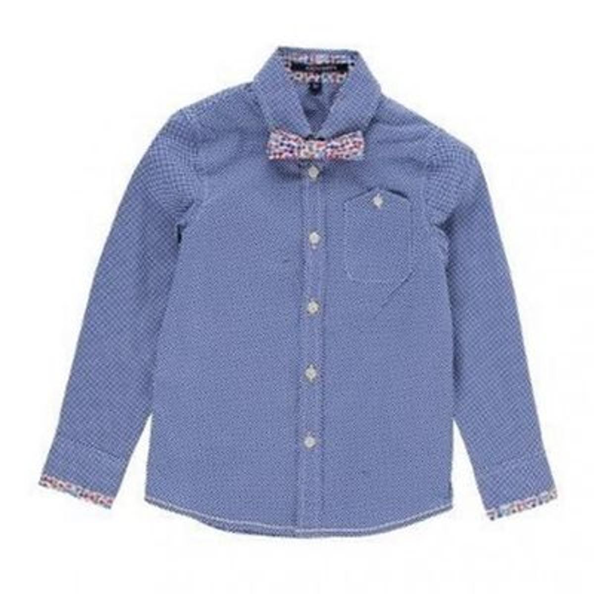 Chemise à pois bleue