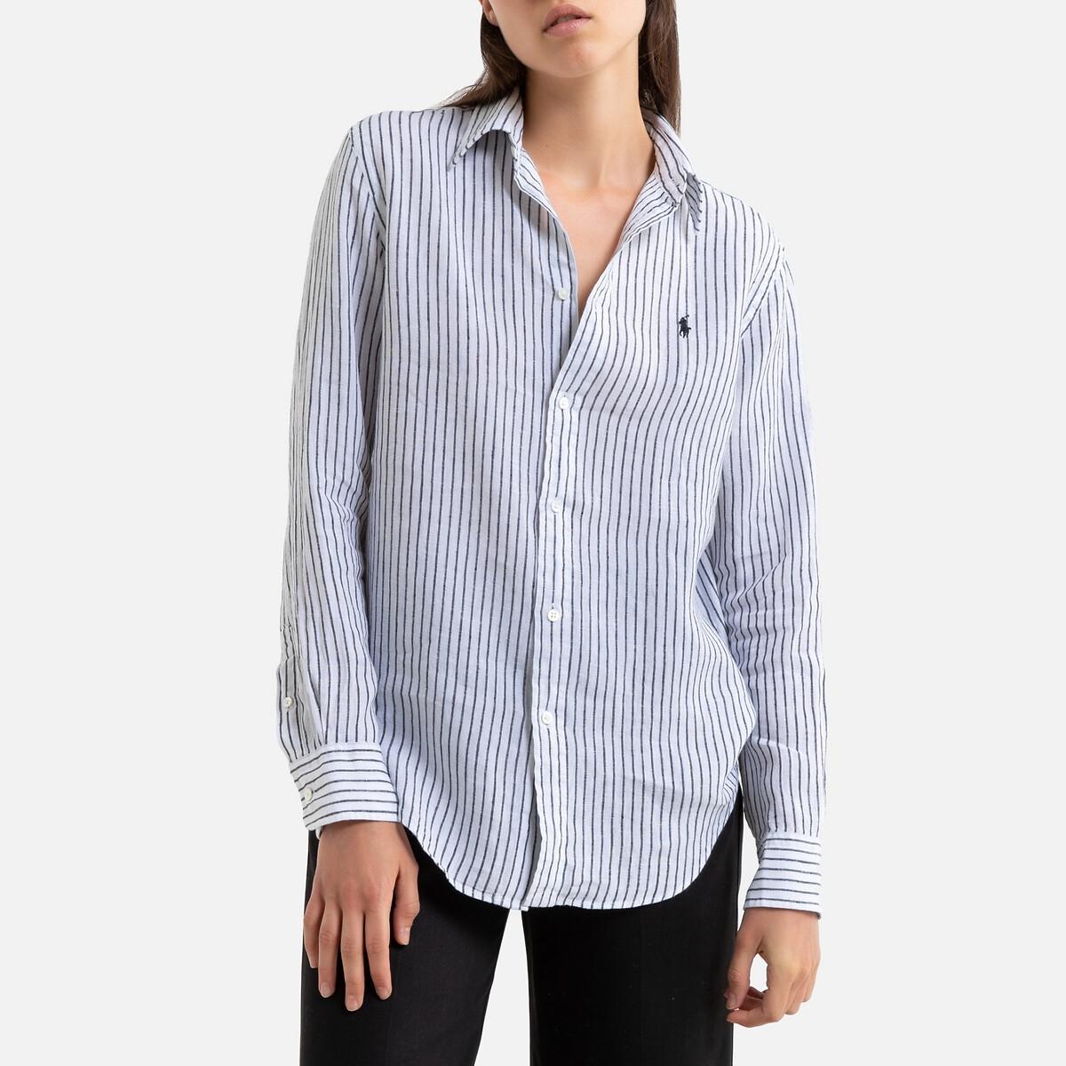 Рубашка La Redoute Из льна в полоску с длинными рукавами S белый блузка в полоску из льна
