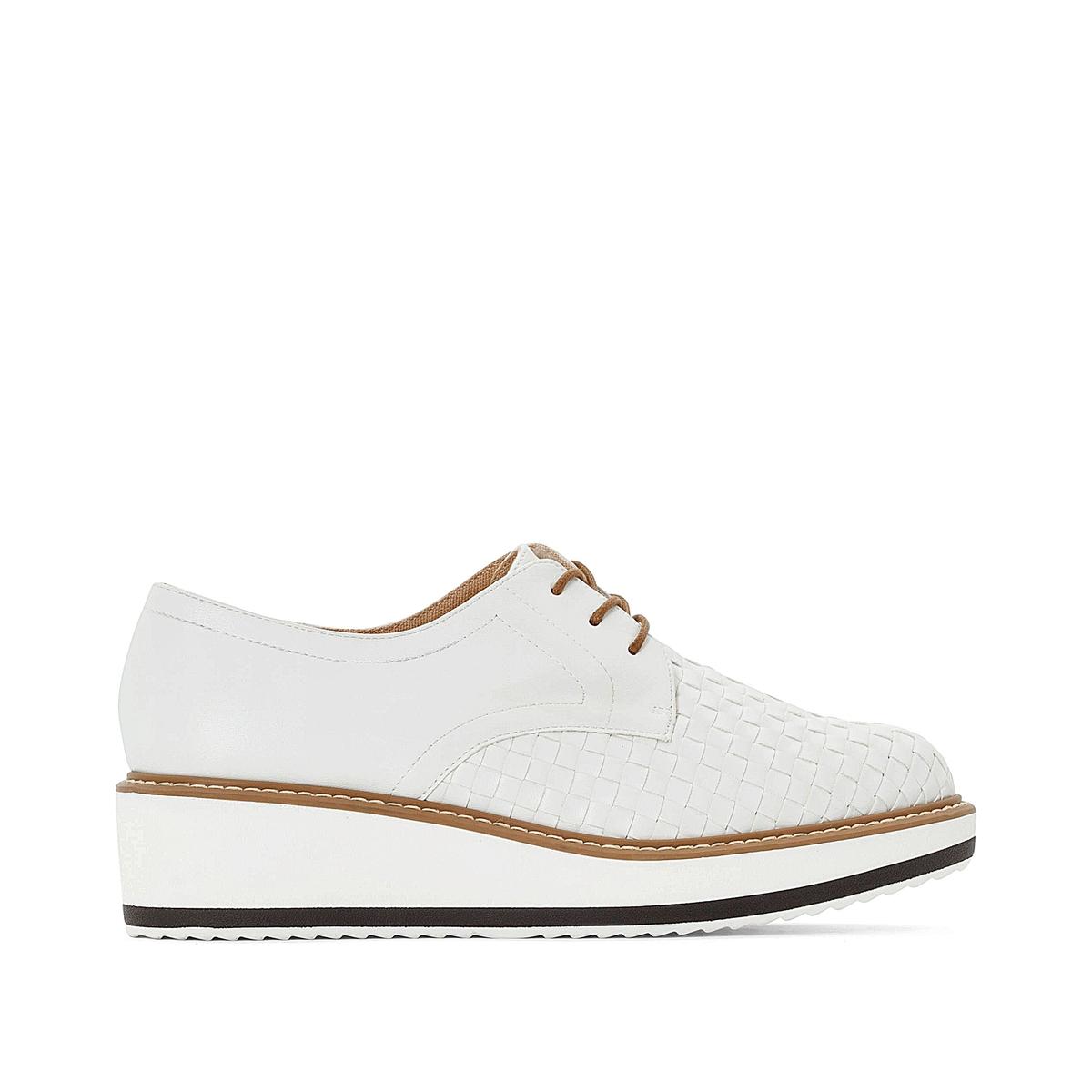 Ботинки-дерби La Redoute На шнуровке с круглым мыском 41 белый ботинки la redoute на шнуровке 38 белый