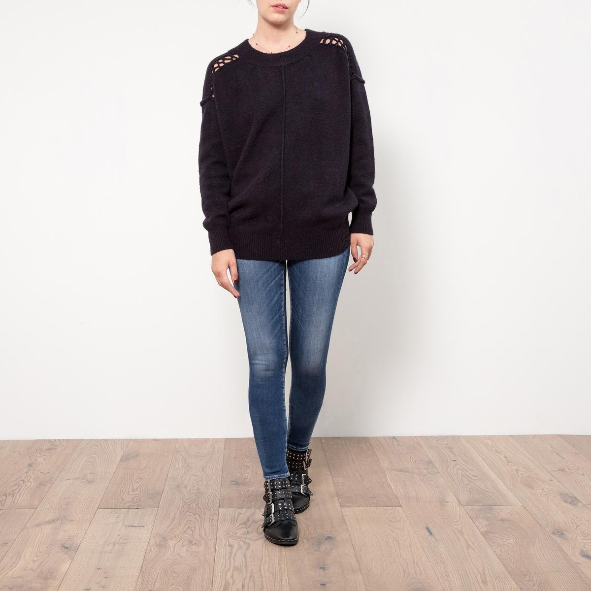 Пуловер из тонкого трикотажа с плетёными деталями