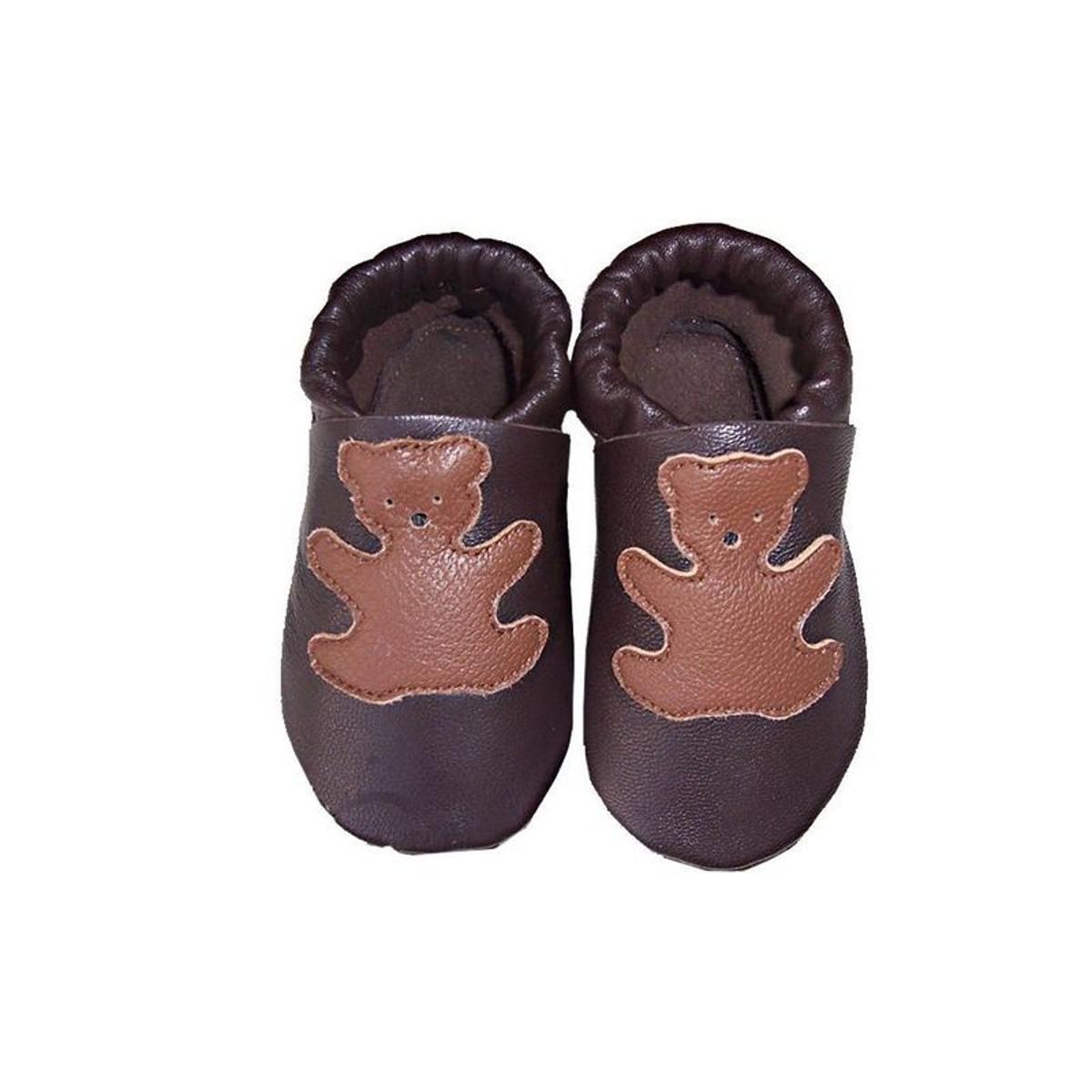 Chaussons bébé cuir marron