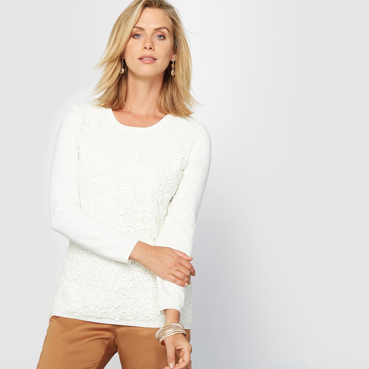 Пуловер гипюровыйОригинальный и очень элегантный пуловер. Круглый вырез. Аппликация из нежного гипюра спереди. Края связаны в рубчик . Приспущенные плечевые швы. Длинные рукава.Состав и описание :Материал : красивый трикотаж джерси, 80% вискозы, 20% полиамида. Длина: 62 см.Марка : Anne WeyburnУход :Машинная стирка при 30° на умеренном режиме с изнанки .Гладить на низкой температуре с изнанки.<br><br>Цвет: экрю<br>Размер: 46/48 (FR) - 52/54 (RUS)