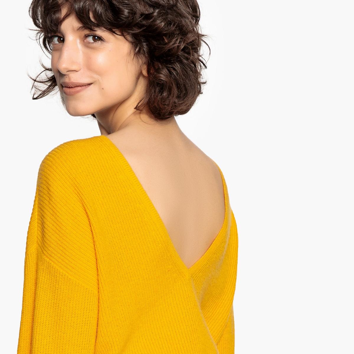 Jersey de cachemir con cuello de pico detrás o delante