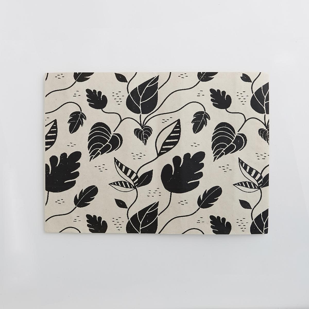 Комплект из 4 одноразовых столовых наборов Foliole4 столовых набора Foliole. Одноразовые, из переработанного картона с красивым рисунком арабеска. Размеры  : длина 42 x ширина 30 см.<br><br>Цвет: черный/ белый