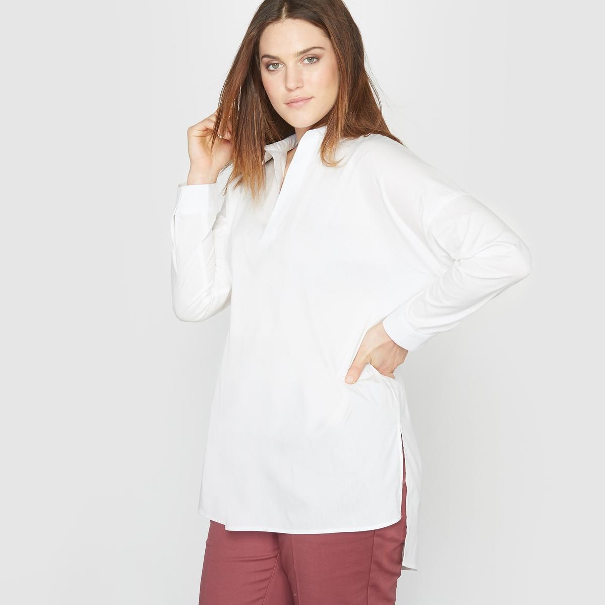 Рубашка-туника длинная из хлопка стретч