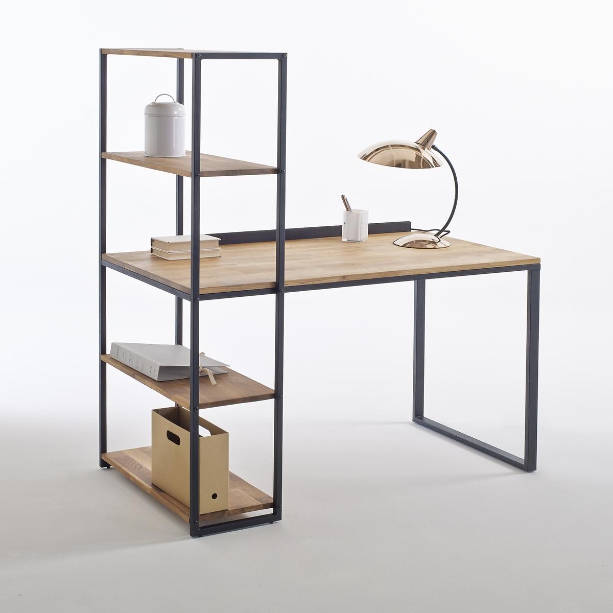 Стол La Redoute Письменный-шкаф из металла и массива дуба Hiba единый размер черный