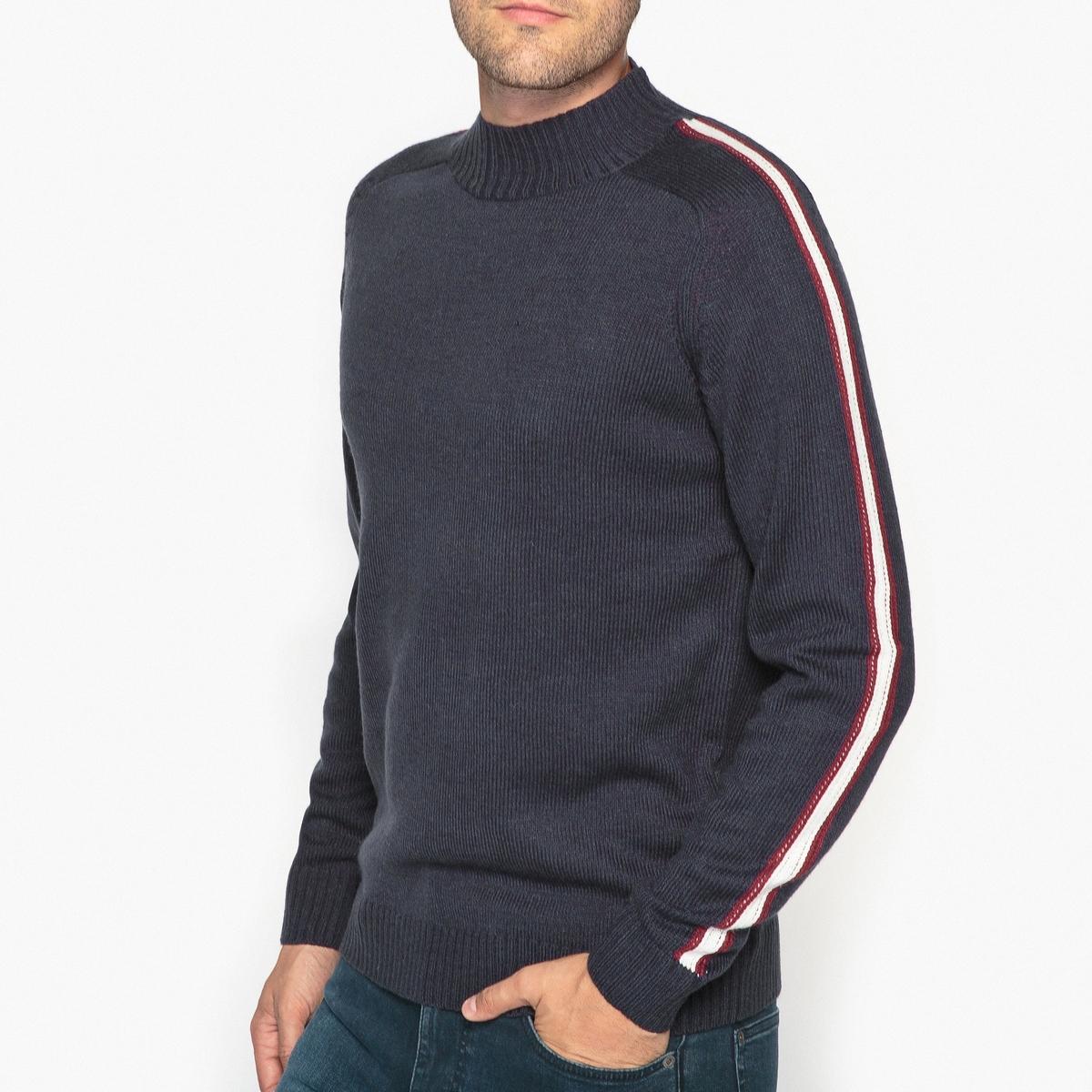 Пуловер с воротником-стойкой из оригинального трикотажа
