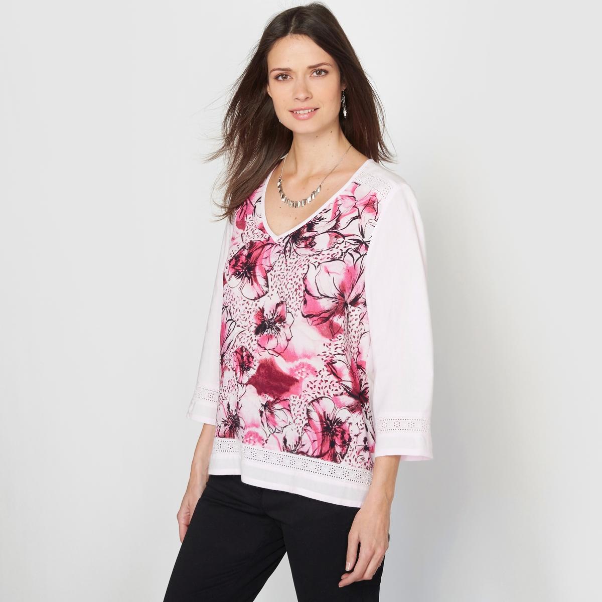 Блузка с рисунком из струящейся ткани