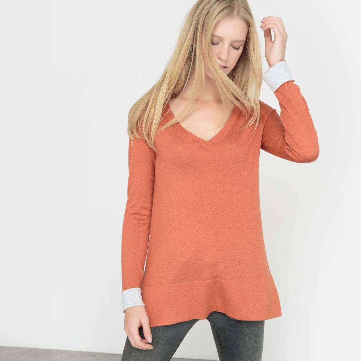 Пуловер с двухцветными отворотами, шерсть в составе