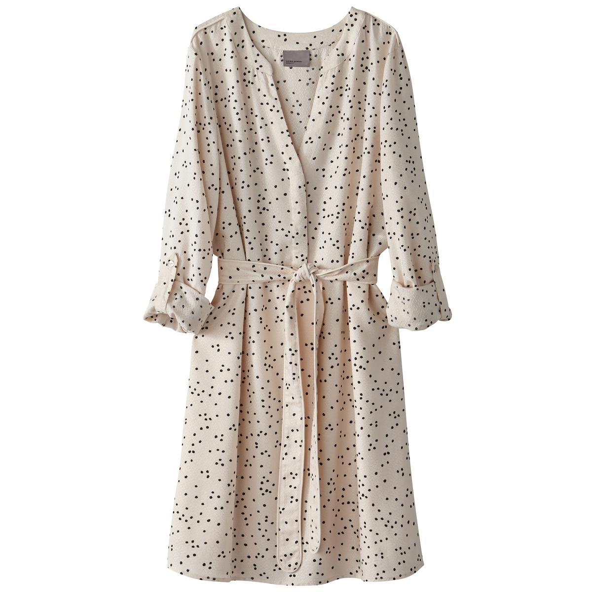 Платье с длинными рукавами, длина до колен, в горошекМатериал : 100% вискоза  Длина рукава : длинные рукава  Форма воротника : V-образный вырез Покрой платья : с запахом Рисунок : в горошек    Длина платья : до колен<br><br>Цвет: в горошек,темно-синий в розовую полоску<br>Размер: XL