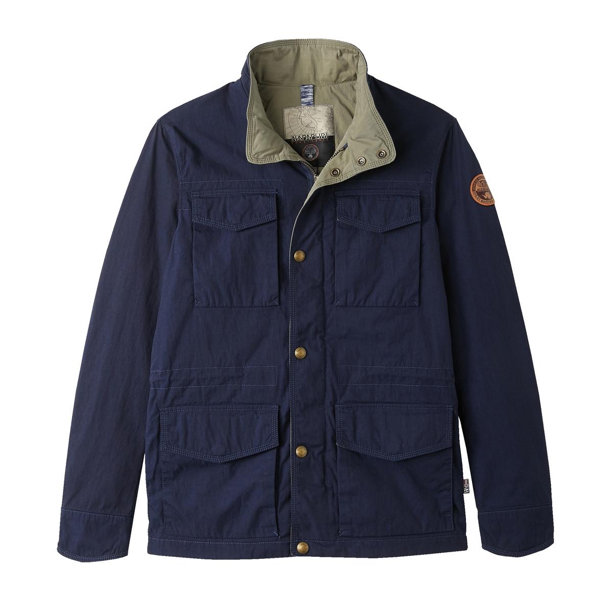 Куртка в стиле милитари на пуговицах AcombОписание:Детали •  Длина : средняя •  Воротник-стойка • Застежка на пуговицыСостав и уход •  75% хлопка, 25% полиамида   •  Следуйте советам по уходу, указанным на этикетке<br><br>Цвет: синий морской<br>Размер: L