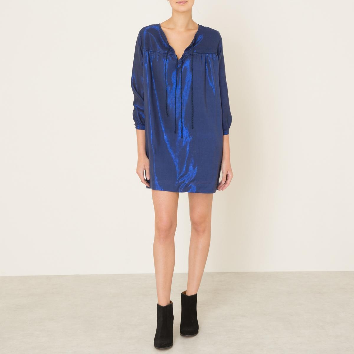 Платье VIOLETTEПлатье SOEUR - модель VIOLETTE. Вырез с разрезом на шнуровке. Складки под линией груди. Рукава 3/4.Состав и описание Материал : 70% хлопка, 30% люрексаМарка : SOEUR<br><br>Цвет: синий