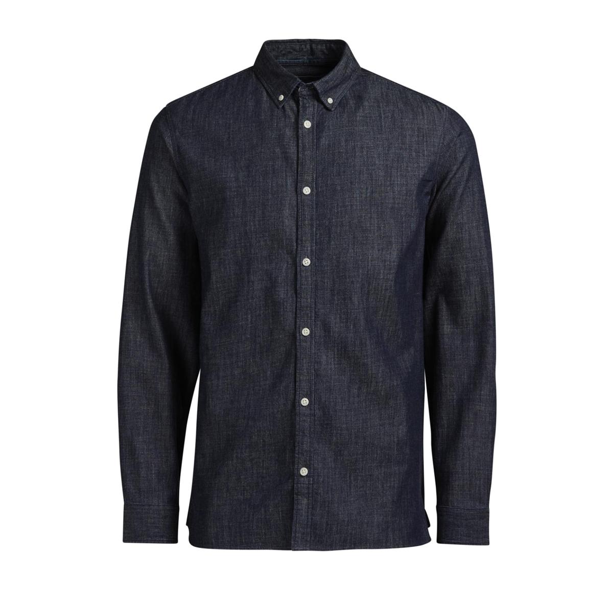 Рубашка JORSPOT узкого покрояРубашка модель JORSPOT от марки Jack &amp; Jones®  из хлопка под очень мягкий и эластичный деним с контрастными пуговицами .             Длинные рукава, манжеты с застежкой на 2 пуговицы, пуговица на предплечье           Облегающий покрой           Классический воротник со свободными уголками           Закругленный низ, разрезы по бокам           Логотип с внутренней стороны застежки на пуговицыСостав и описание :Основной материал : 100% хлопок            Марка :  JACK &amp; JONES®Уход  : Следуйте рекомендациям, указанным на этикетке изделия.<br><br>Цвет: синий деним