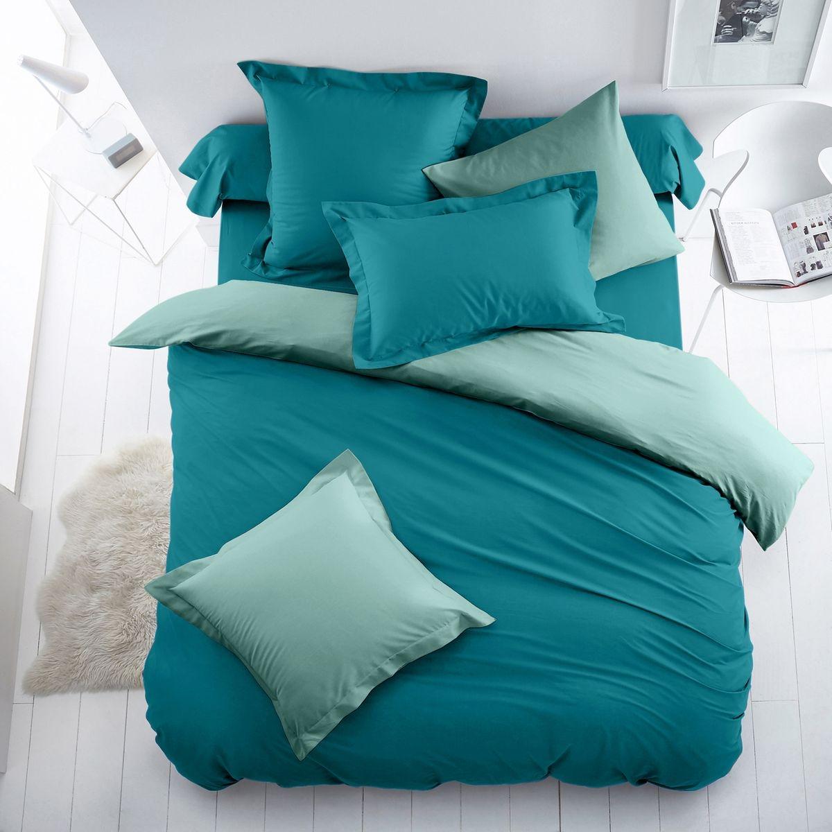 Housse de couette bicolore coton/polyester