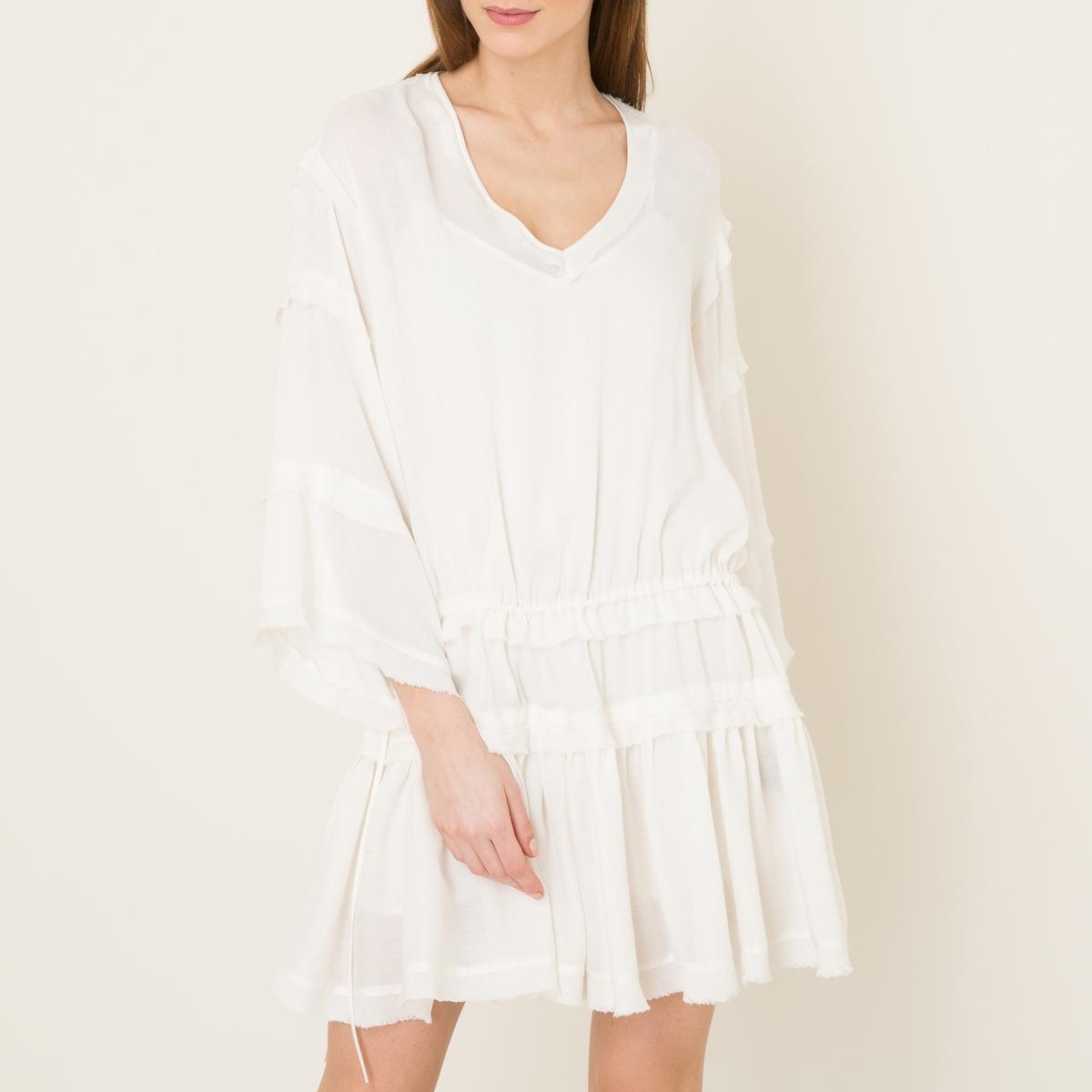 Платье из струящейся тканиСостав и описание Материал : 100% вискозаПодкладка из 100% вискозыДлина : 92 см.Марка : THE KOOPLES SPORT<br><br>Цвет: экрю