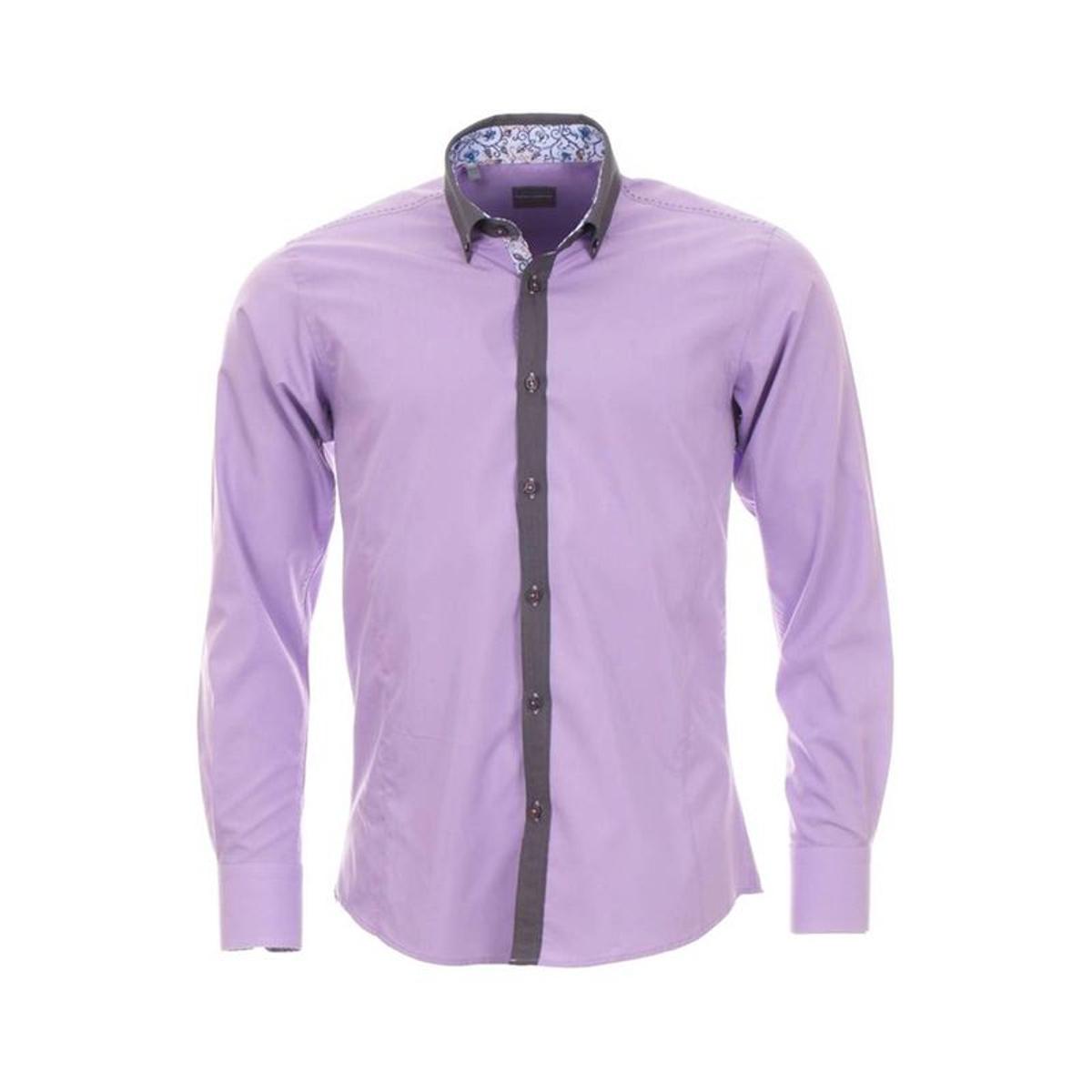 Chemise homme cintrée   lila à col   et opposition motif à fleurs
