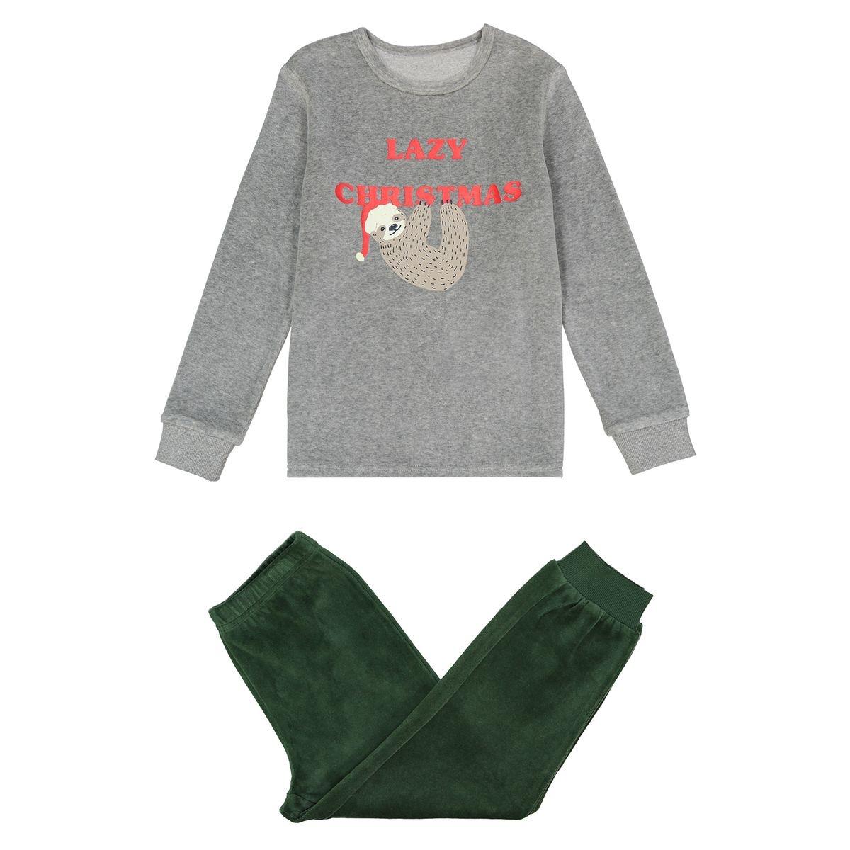 Pyjama velours imprimé paresseux 3 - 12 ans