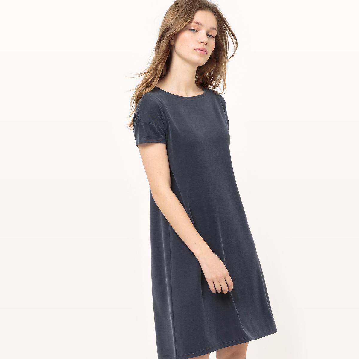 Платье-трапеция с короткими рукавами из модала
