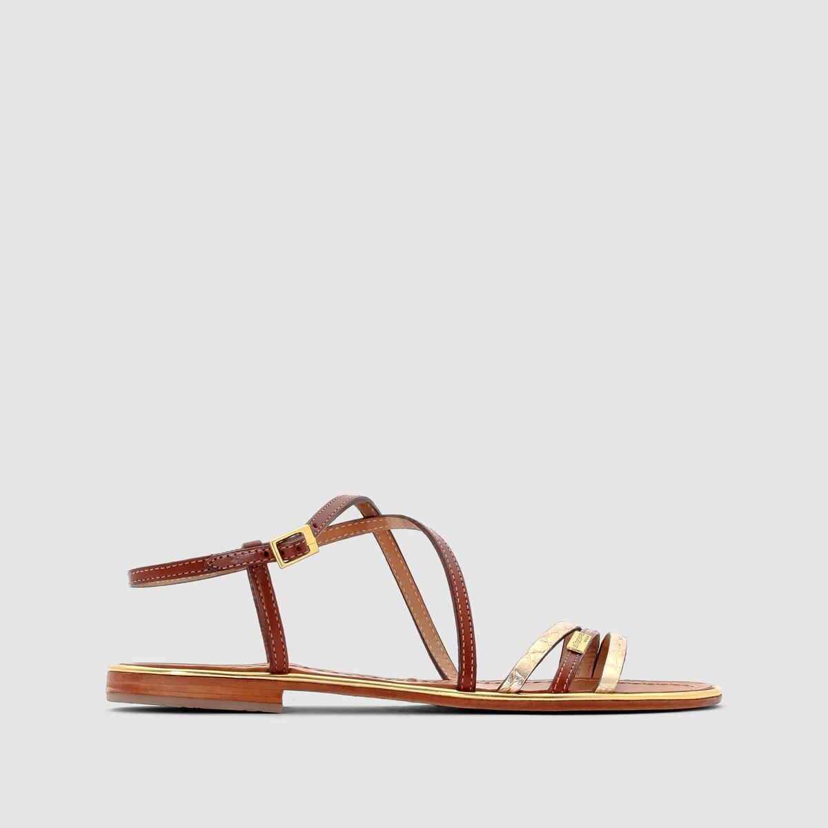 Сандалии Balise, из кожи, плоскиеИх тонкие кожаные ремешки и золотистый цвет украсят ваши ножки этим летом в изысканном стиле !<br><br>Цвет: Бежевый/золотистый,черный<br>Размер: 39.36