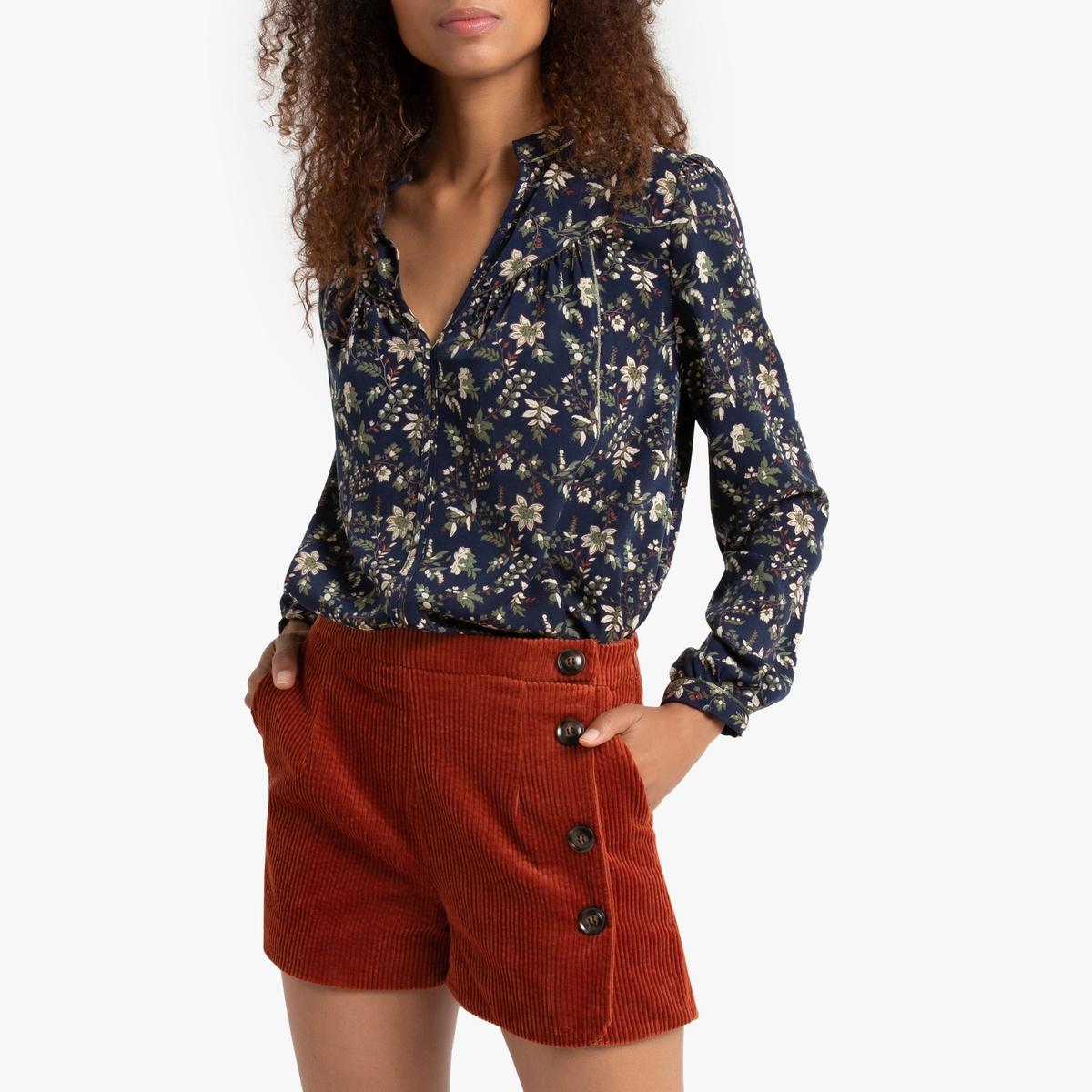 Блузка La Redoute С длинными рукавами и цветочным рисунком 3(L) синий цена