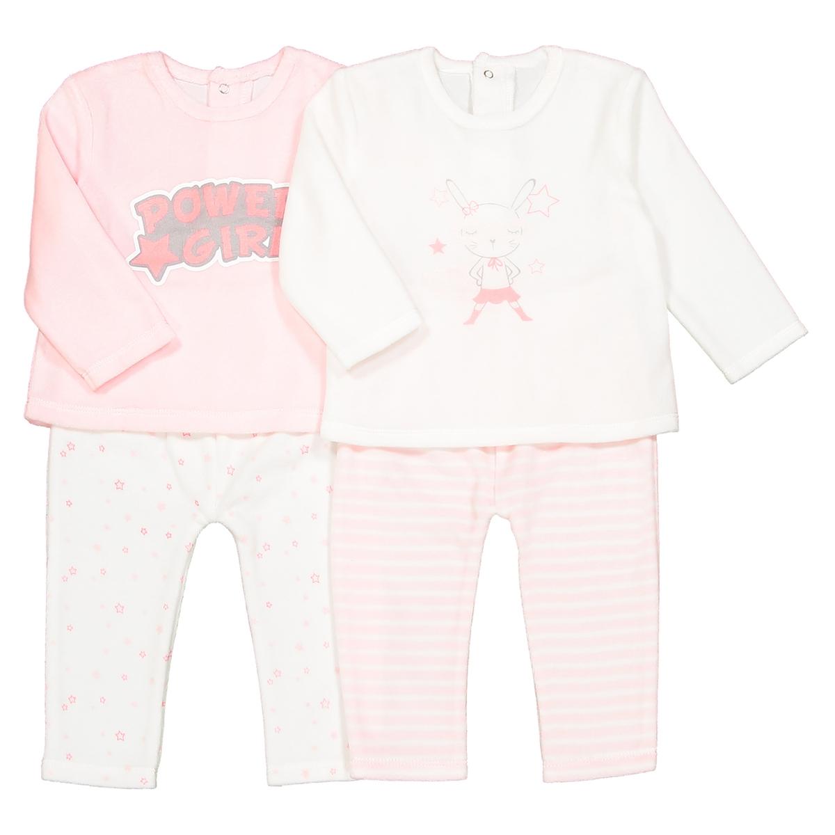 Комплект из 2 пижам из 2 предметов из велюра, 0 мес. - 3 годаОписание:Комплект из 2 пижам из велюра. 2 замечательные пижамы мягких расцветок, идеальные для маленьких девочек. Детали •  Комплект из 2 пижам, верх с набивным рисунком. 1 пижама с брюками в полоску + 1 пижама с брюками с рисунком звезды. •  Длинные рукава. •  Круглый вырез. •  Застежка на кнопки сзади.Состав и уход •  Материал : 75% хлопка, 25% полиэстера. •  Стирать при температуре 30° на деликатном режиме с вещами схожих цветов. •  Стирать и гладить с изнанки при низкой температуре. •  Деликатная сушка в машинке.Товарный знак Oeko-Tex® . Знак Oeko-Tex® гарантирует, что товары прошли проверку и были изготовлены без применения вредных для здоровья человека веществ.<br><br>Цвет: розовый + экрю<br>Размер: 1 мес. - 54 см.3 мес. - 60 см.2 года - 86 см.18 мес. - 81 см.9 мес. - 71 см.6 мес. - 67 см.1 год - 74 см.0 мес. - 50 см.3 года - 94 см