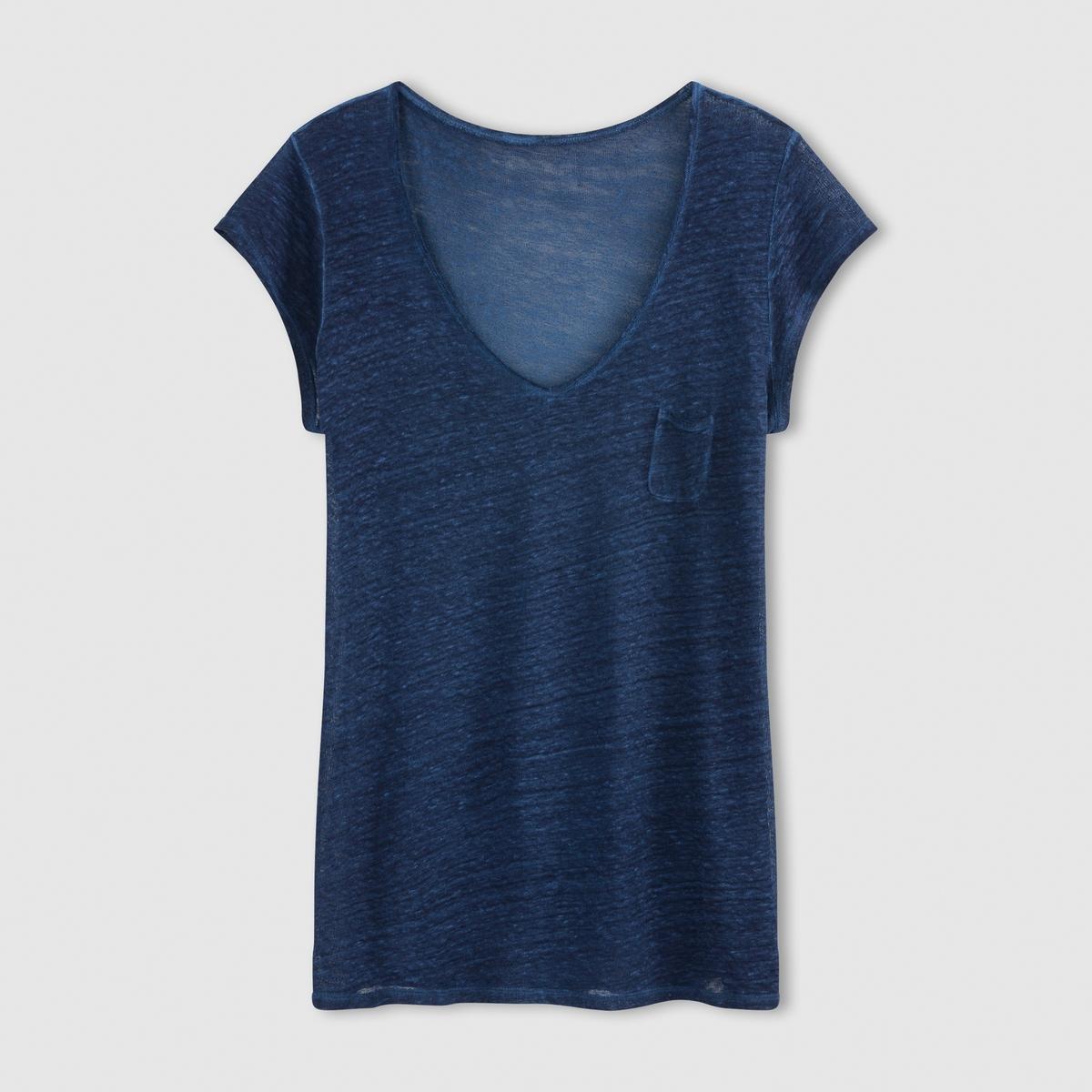 Футболка с V-образным вырезом и короткими рукавами, 100% льна футболка с рукавами 3 4 100% льна
