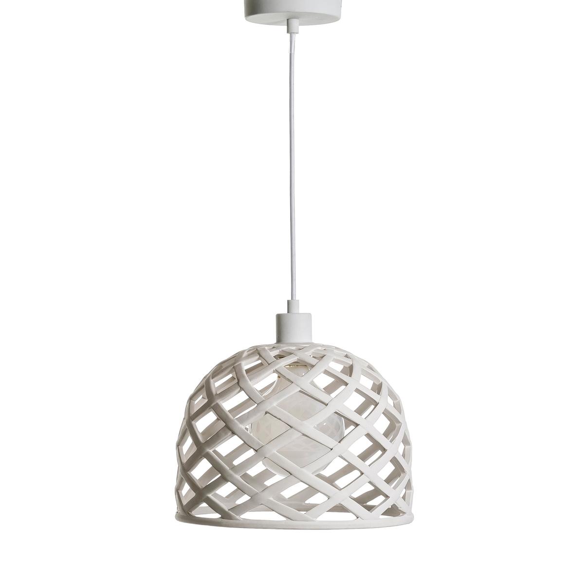 Светильник  TidcanСветильник из матовой керамики с очень красивым эффектом переплетения  Характеристики :- Белый матовый керамический каркас .- Кабель из ткани - Патрон E27. Лампочка макс 60 Вт, не входит в комплект .Размеры :- Абажур диаметр 30 см, высота 30см - Кабель: длина  125,5 см .<br><br>Цвет: белый