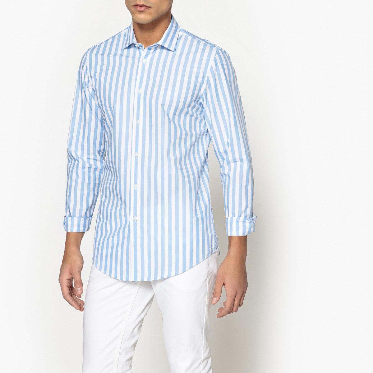 Camisa slim às riscas, 100% algodão