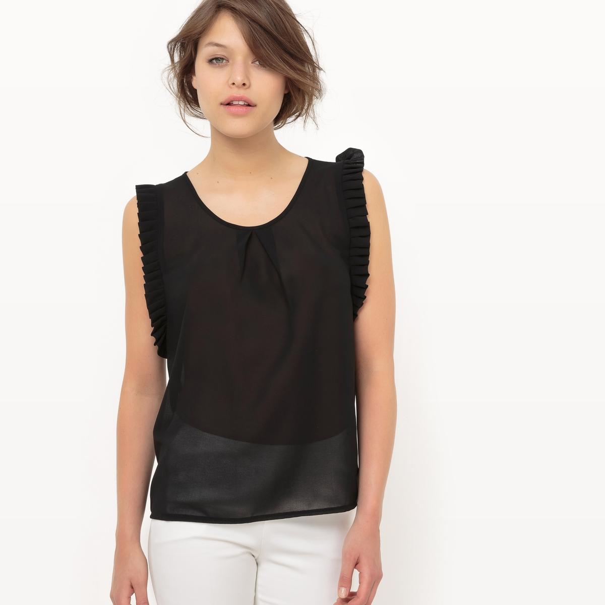 Блузка без рукавов, с бахромой